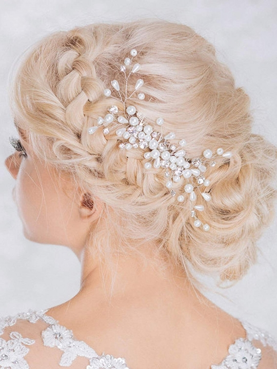 Bridal Bling Bling Headpiece, Wedding Hair Combs with Bead and Rhinestones for Women and Girls white normal