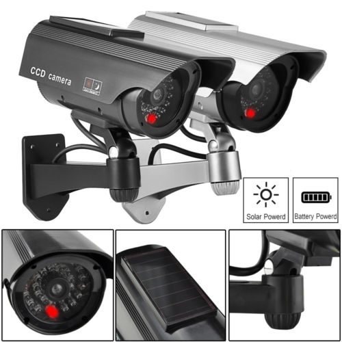 Solar Power Fake Camera CCTV Waterproof Realistic Dummy Security Cam Blinking Black Normal