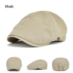 Solid Cotton Gatsby Cap Mens Ivy Hat Golf Driving Summer Sun Flat Cabbie Newsboy Khaki