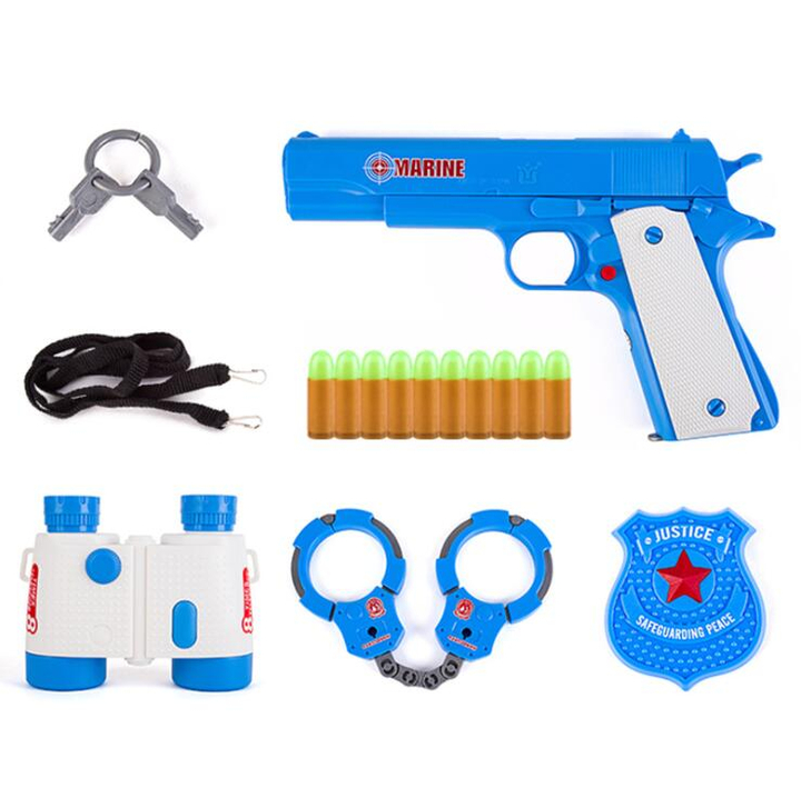 Toy Pistol with 10 Pcs Colorful Soft Bullets, Ejecting Magazine and Pull Back Action - Random color blue normal