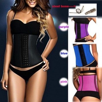 Usexy top Body Shaper Steel Bone Latex Waist Trainer Block Patchwork Slim Waist Rubber Women Corset black XXL-3XL
