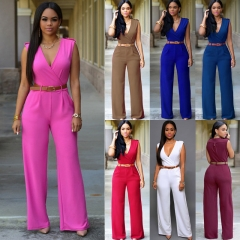 New Women Ladies Clubwear V Neck Playsuit Bodycon Party Jumpsuit Romper Trousers burgundy l