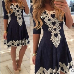 Fashion Women Summer Long Sleeve Lace Evening Party Cocktail Short Mini Dress navy blue m