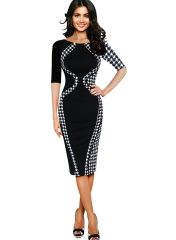 Women's Scoop Neck Optical Illusion Business Bodycon Dress Black half sleeve S