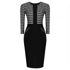 Women's Vintage Business Slim Bodycon Pencil Causal Dress black s