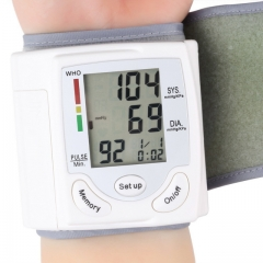 Automatic Digital LCD Display Wrist Blood Pressure Monitor Heart Beat Rate Pulse Meter Tonometer as shown