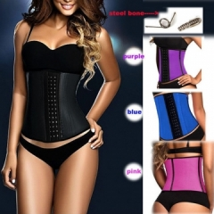 Usexy top Body Shaper Steel Bone Latex Waist Trainer Block Patchwork Slim Waist Rubber Women Corset Black S M