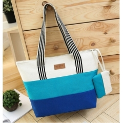 Joyism High Capacity Stripe Letter Patchwork Canvas Zipper Portable Bag blue f