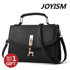 Joyism PU leather handbag fawn half cover lock women bag black f