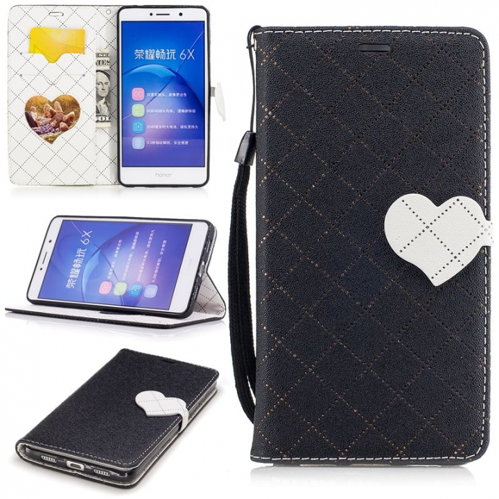 Huawei Honor 6X Case,PU Leather Wallet Flip Phone Case Cover with Card Slot  (Black) For Huawei Honor 6X