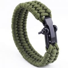 U type Steel buckle military rule Umbrella rope With adjustment survive Wristbands Bracelet green All code