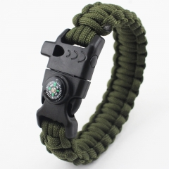 outdoor survive Supplies Flintstones buckle compass Whistle Umbrella rope Multifunction Bracelet green all code