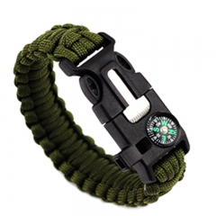Camping Emergency Life-saving Compass Seeking bracelet field Fire Bracelet Flintstones Wristband green all code