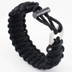 Seven core Umbrella rope Bracelet   Multifunction Flintstones Camping Wristband Outdoor Survive black all code
