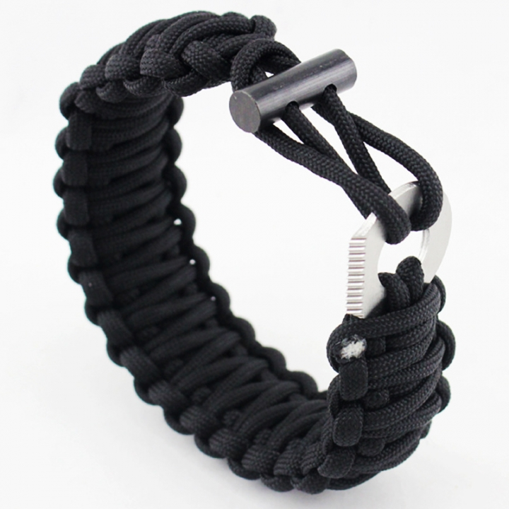 Seven core Umbrella rope Bracelet  Multifunction Flintstones Camping Wristband Outdoor Survive black all code