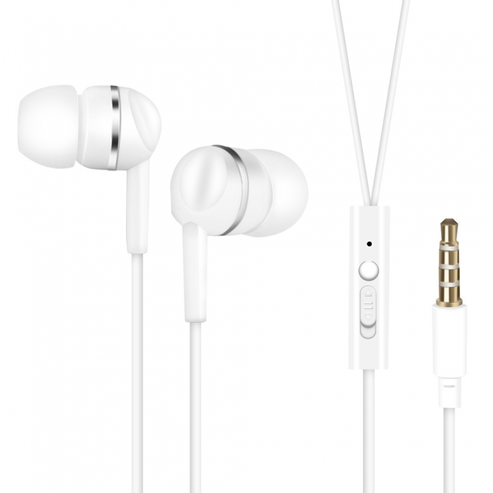 Mobile phone General Headset Ear Style General Headset  Wire Control With Microphone Earplugs white