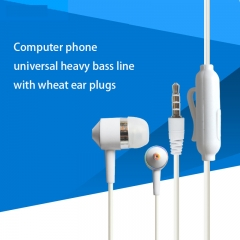Color Crystal line Headset Computer Mobile Phone General Subwoofer Wire Control With Wheat Earplugs white