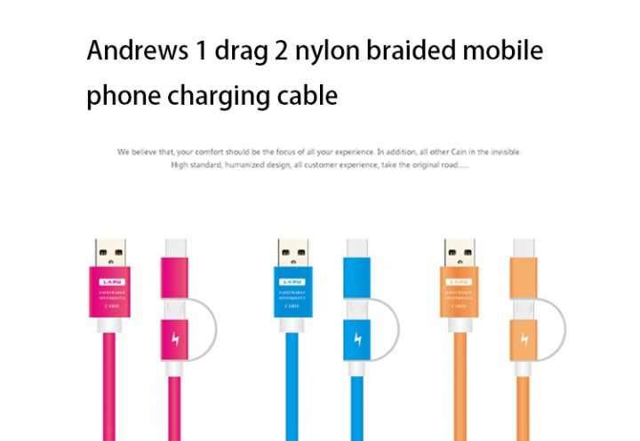 Combo Data lines Apply to apple   Andrews 1 drag 2 Nylon Weave Mobile phone Charging Cable black