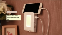 Double USB Charge Light Control Night light Four U.S. regulations Multifunction Socket white 12cm*8cm*3cm 0.5w