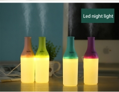 Mini USB Humidifier Creative Cool bottle Humidifier Warm light Night light Humidifier  Air Filter blue 17cm*5cm*5cm 5w