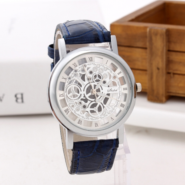 Fashion Non-mechanical Hollow Table Men Business Leisure Gold face gear Quartz Watches black silver belt