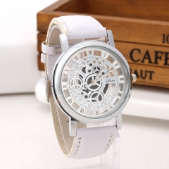 Fashion Non-mechanical Hollow Table Men Business Leisure Gold face gear Quartz Watches white silver belt