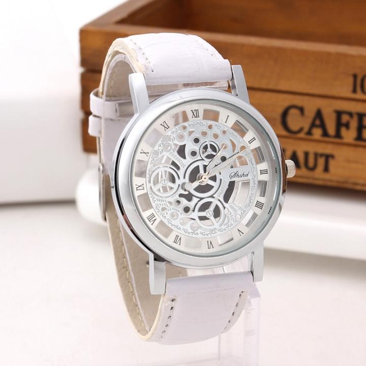 Fashion Non-mechanical Hollow Table Men Business Leisure Gold face gear Quartz Watches white silver belt