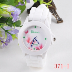 Hot Cakes Silicone Wacth Geneva Couple Printing Flower Strap Fashion Silicone Wacthes 371