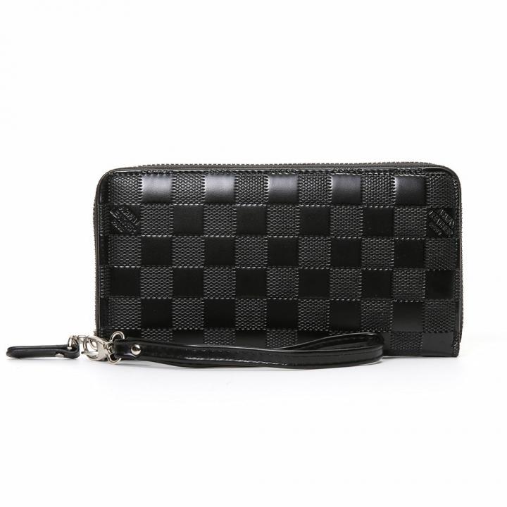Men Wallet Long Section Zipper Hand Bag Male Bag Lattice Fashion Wallet black one size
