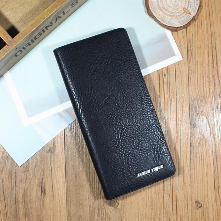 Men Long Section Zipper Wallet Fashion Multi-card bit Hand Bag Business Leisure Mobile Phone Bag black one size