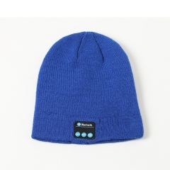 Personality Bluetooth Music Headset Hat Autumn And Winter Bluetooth Knitting Keep Warm Hat blue one size