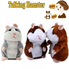 Cartoon Intelligent Will Speak Will Walk Lovely Recording Small Hamster Child Plush Toy gray one size