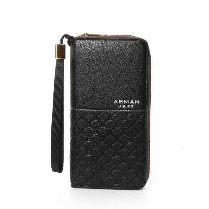Business Wallet Long Section Zipper Handbag Men Wallet Big Bills Fashion Wallet black one size