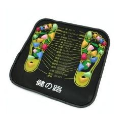 Colored Plastic Walk Stone Square Healthy Foot Massage Mat Pad Cushion black