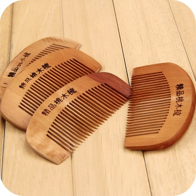 Ms Fashion Sandalwood Peach Comb Health Care Natural Anti-static Peach Comb brown one size