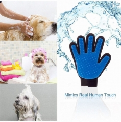 True Touch Five Finger Cleaning Brush Magic Glove Pet Dog Cat Massage Hair Removal Groomer blue one size