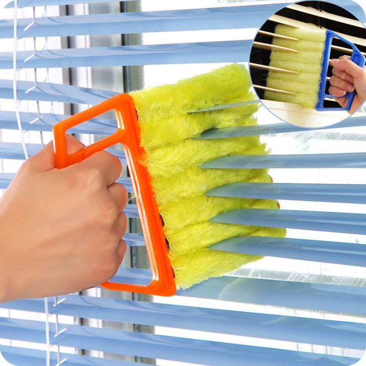 Convenient Microfibre Venetian Blind Blade Cleaner Window Conditioner Duster Clean Brush Yellow yellow one size