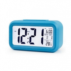 Creative Digital Smart Bell Temperature Snooze Alarm Clock Mute Backlight Electronic Clock blue one size