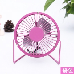 4 Inch USB Electric Fan Mini Aluminum Leaf USB Small Fan Lron Art Fans pink