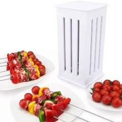 Food Slicer Cute BBQ Grill Kebab Maker Box Kit Rapid Wear Meat With Bamboo Skewers white one size