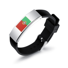 2018 Russia World Cup National flag Logo Fan Wristband Personality Silica Gel Men Bracelets 1 one size