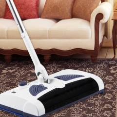 Electric Wireless Sweeper Manual Hand Push Sweeping Broom 360 Degree Rotation Flexible Cleaner white one size