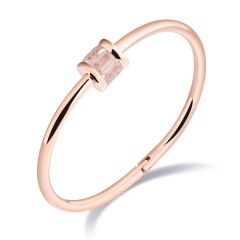The New Ring Color Diamond Bracelet Titanium Steel Plating Rose gold Buckle Simple Wristband gold white one size