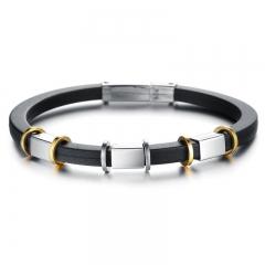 Western Style Fashion Silica gel Bracelet Trend Retro Men gift Bracelet black one size