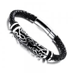 Fashion Tide men Essential Bracelet Retro Leather Rope Weave Fashion Bracelet black one size