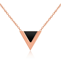 The New Fashion Temperament Triangle Necklace Titanium Steel Rose gold Female Models Clavicle chain black  gold one size
