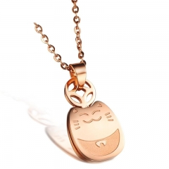 Fashion Lucky Lovely Totoro Plated Rose Gold Titanium Steel Necklace Leisure Ms Bracelet rose gold(necklace) one size