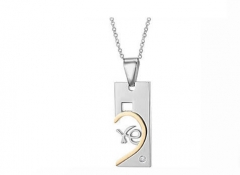 Valentine's Day gift fashion Necklace Leisure Titanium Steel Couple Pendant gold silver (Ms) one size