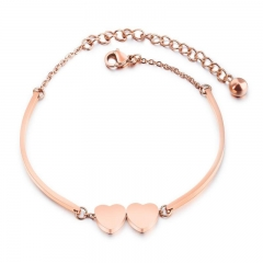 Ms Heart-shaped Rose gold Bracelet Love Fashion Leisure Trend Bracelet gold one size