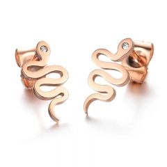 Creative Snake fine Fashion Plated rose Gold Diamond Ms Earrings gold ms